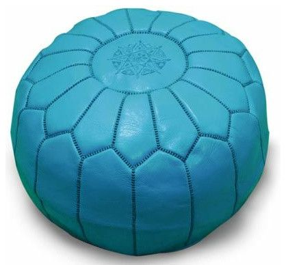 Moroccan Pouffe, Turquoise mediterranean ottomans and cubes