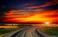 Road To Sunset HD Desktop Background wallpaper