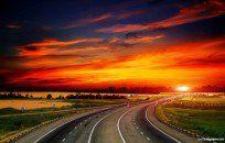 Road To Sunset HD Desktop Background wallpaper