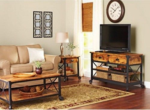 Country Style Living Room Set Tv Stand Coffee Table End Furniture Home Decor 3pc Dsd