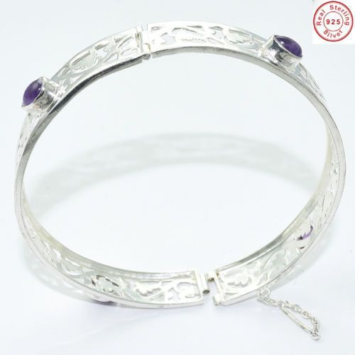 Solid 925 Sterling Silver #Natural #Amethyst #Cuff #Bracelet from Akrati Jewels Inc.