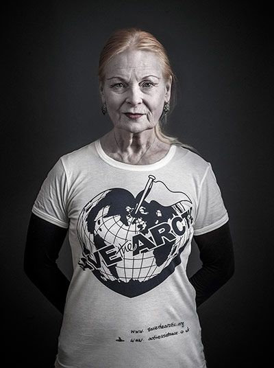 """""""SAVE the ARCTIC."""" But what is happening to the Arctic? Fashion designer Vivienne Westwood models her new t-shirt design for her Save the Arctic campaign. Influential celebrities are utilizing their social status and leadership to increase media exposure and spread awareness about the global climate change crisis."""