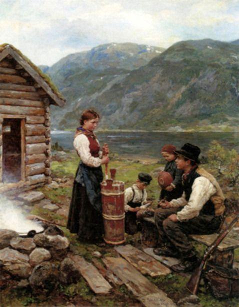Jahn Ekenaes - Norwegian   1847-1920   (+) Family in a Norwegian Fjord Landscape.