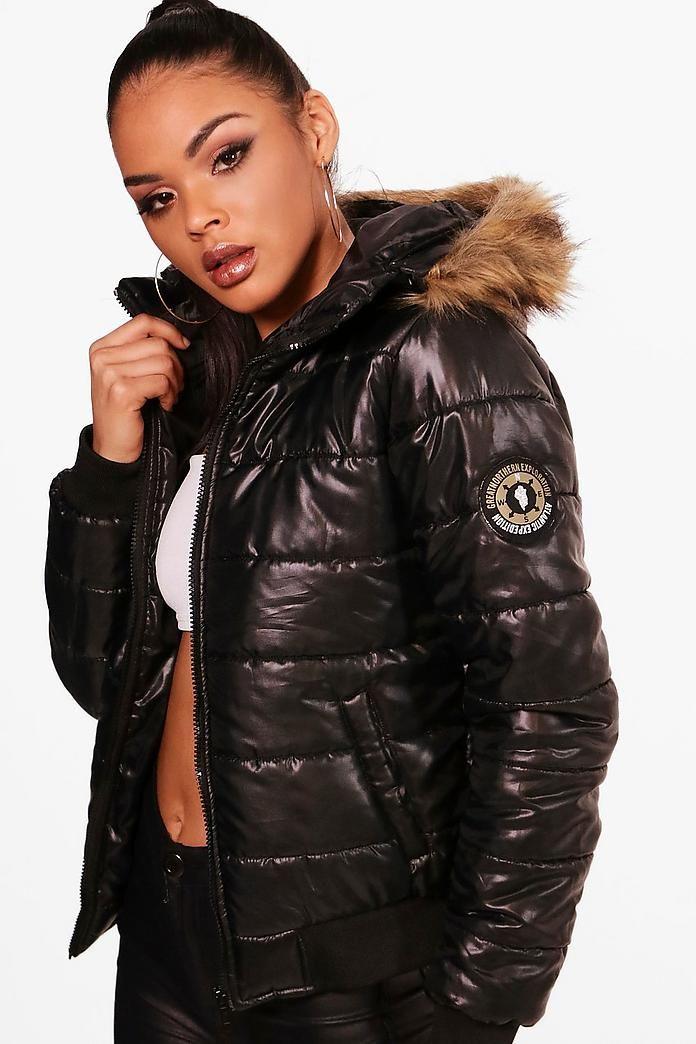 Maya Faux Fur Hood Bubble Coat | Boohoo | Puffy jacket in