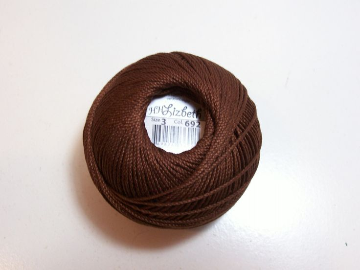 Tatting Thread, Lizbeth Size 3 Cotton Crochet Thread, Dark Mocha Brown, Color number 692, Brown Thread by GriffithGardens on Etsy
