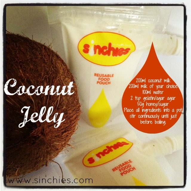 Coconut Jelly - so smooth & yummy! Fills approximately 2 x 200ml & 1 x 80ml Sinchies reusable food pouches www.sinchies.com