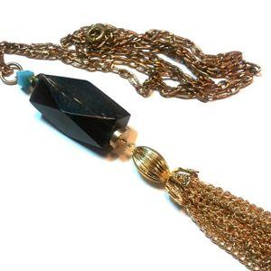 Boho Deco Horn and Swarovski Crystal Beads teamed w a Gold Tassel