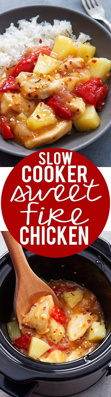 Slow Cooker Sweet Fire Chicken recipe | Creme de la Crumb