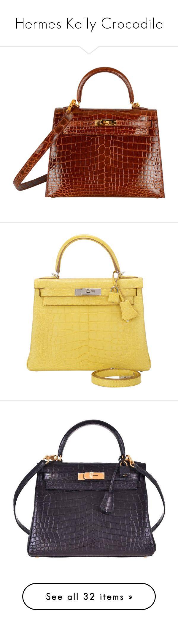 """Hermes Kelly Crocodile"" by angel00005 ❤ liked on Polyvore featuring bags, handbags, hermes, bolsas, hermes bags, hermes bag, hermès, crocodile handbags, crocodile embossed handbags and croc purse"