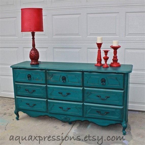 Gypsy Teal French Provincial Dresser/ Custom Paint to Order