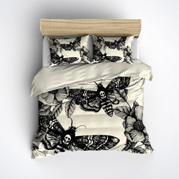 really awesome Etsy listing at https://www.etsy.com/uk/listing/246873171/featherweight-moth-skull-bedding-black
