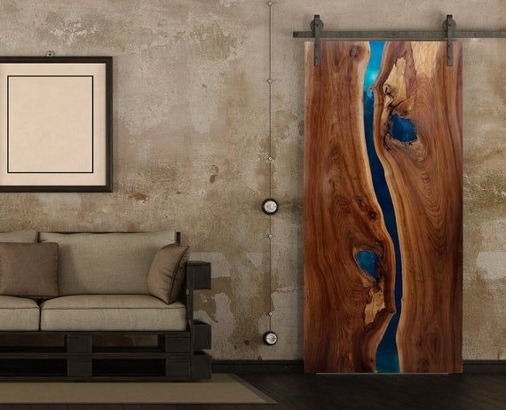 Live Edge Resin Doors Stunning River Doors Custom Made For Etsy In 2020 Wood Doors Interior Live Edge Table Live Edge Coffee Table