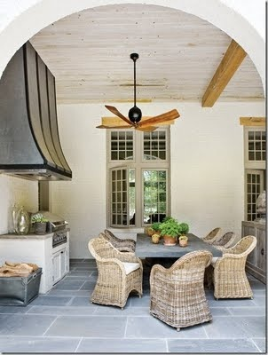 Outdoor Room, Kooboo/kubu Chairs, Rustic Table, Ceiling Detail