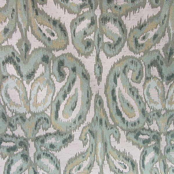this is a natural and 3 shades of green paisley floral ikat deisgn upholstery fabric by