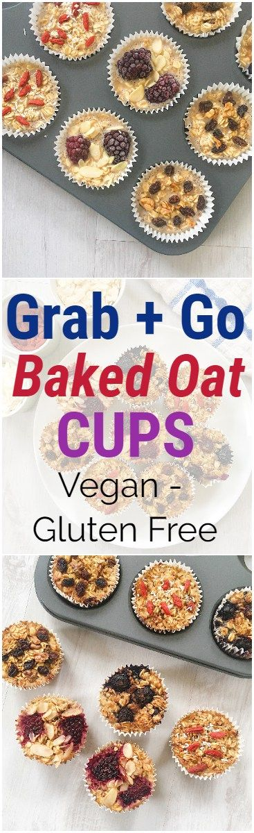 Grab and Go Baked Oat Cups for on-the-go healthy snacking. #glutenfree #breakfast #snacks