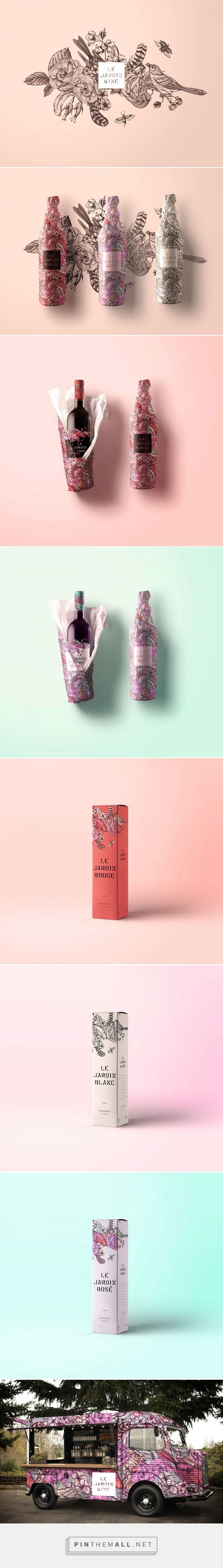 Branding, graphic design and packaging for Le Jardin Tattoo Wine Packaging on Behance by Sarah Gwan Toronto Ontario curated by Packaging Diva PD. How pretty is this wine concept packaging?