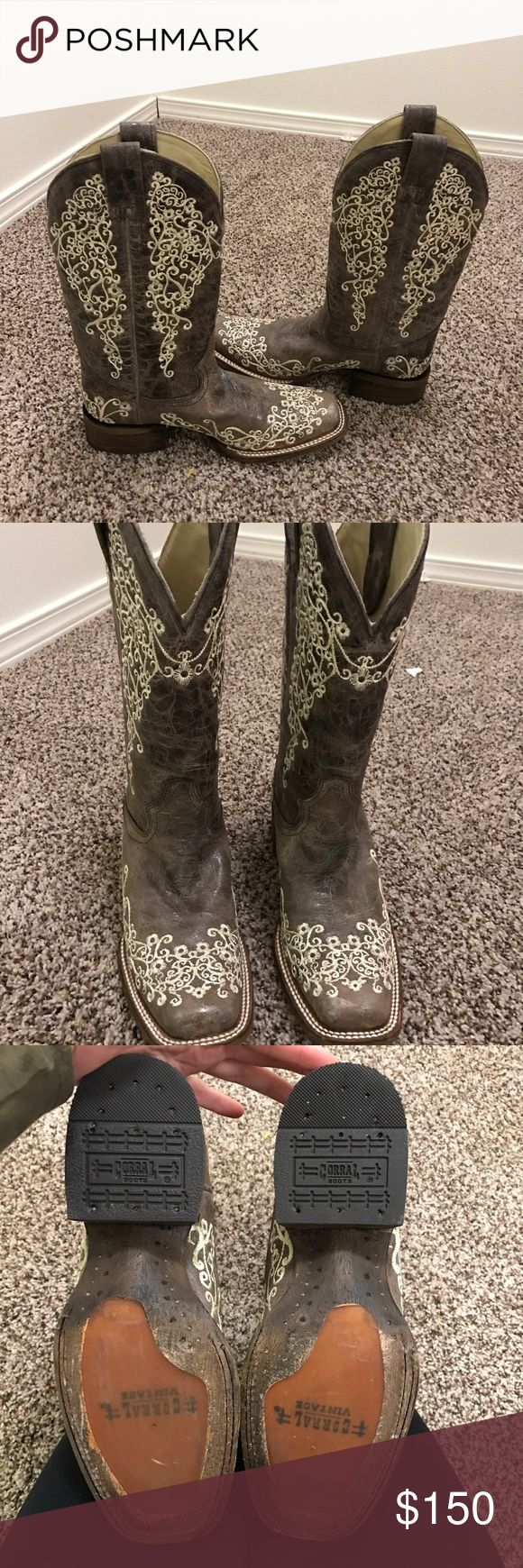 Corral boots Corral boots in excellent condition. They have been worn once for about 2 hours to meet my husband at the airport. Size 7.5 and they run true to size. corral Shoes Heeled Boots