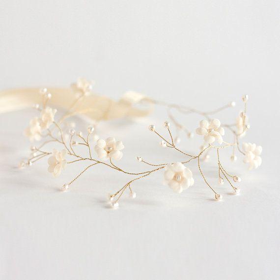 Bridal tiara, bridal hair accessories, wedding tiara, wedding flower crown, gold tiara, cream headpiece, headband,  pearls, beige wedding. on Etsy, $43.00