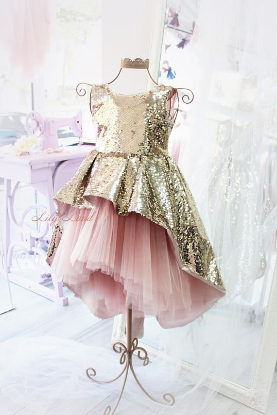 Perfect girl dress for Christmas, holidays, wedding, birthday party or photo - any of her very special days! The item is hand-crafted down to the last detail. It can be made in different sizes and colors. Luxurious baby dress made of shiny sequins, with a long train and a cascading