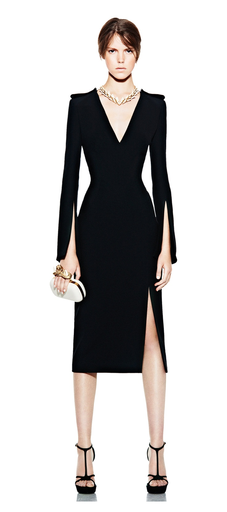 Alexander McQueen: Black Military Pencil Dress £1,250.00 - A structured look for the powerful business woman *secretly hopes its her in 5 years*