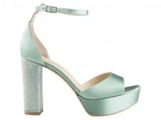 LELLA BALDI.  Tacco jewel su raso di seta acquamarina   Satin for this opern sandal with wedge and jewel on heel.  #loveitalianshoes