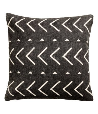 Charcoal gray/patterned. Cushion cover in thick cotton canvas with a printed pattern at front and solid-color back. Concealed zip.
