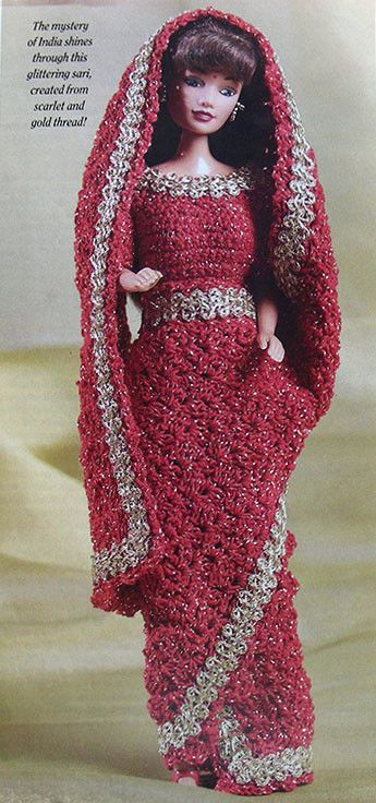 Crochet PATTERN ONLY ~ Fashion Doll Indian Sari ~ Sparkling Red & Gold ~ Barbie