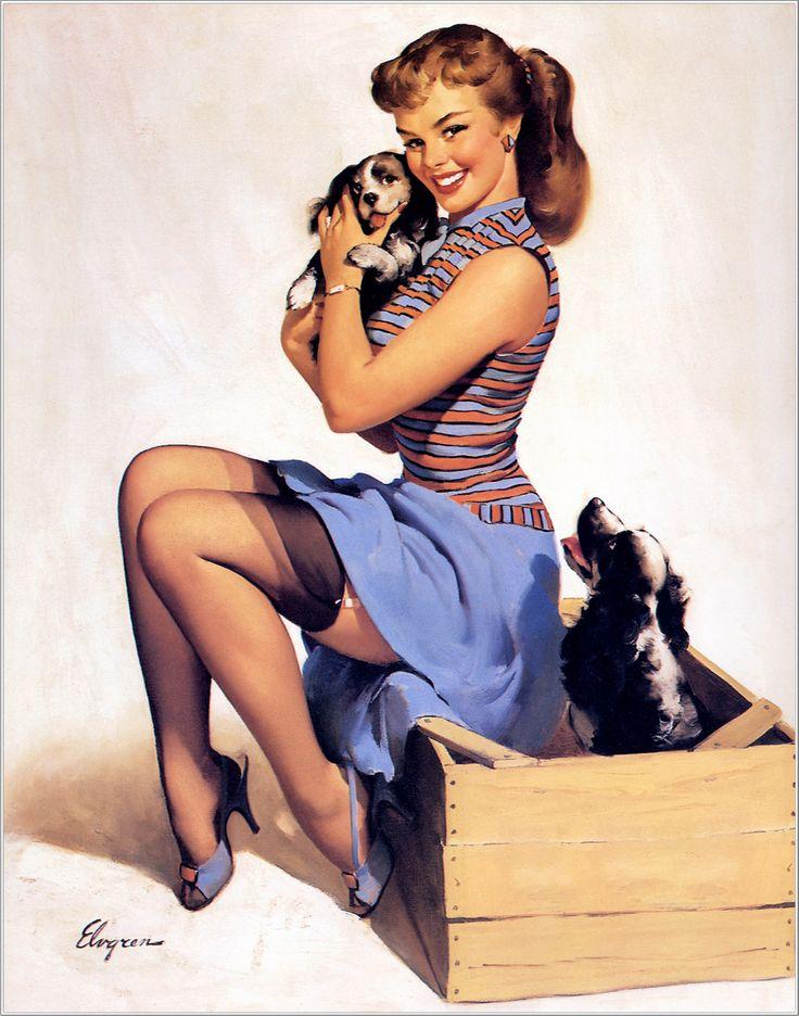 """Gil Elvgren - """"Puppy Love"""" or """"Doggone Good"""" (1957)"""