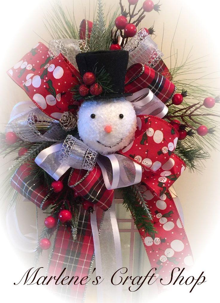 Snowman Lantern swag Snowman tree topper bow by MarlenesCraftShop