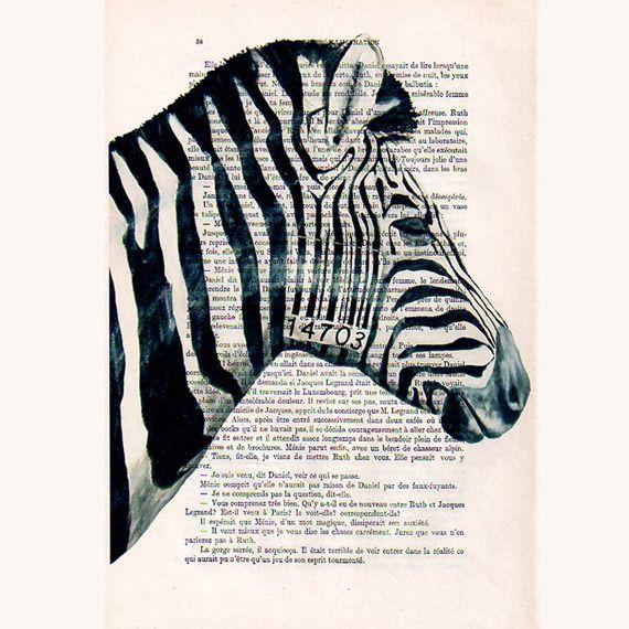 Zèbre barcode affiche peinture art illustration poster papier antique vintage art : Imprimés par bobogalerie