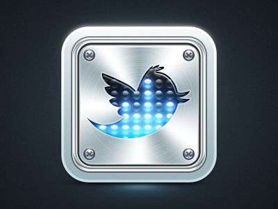 Dribbble - Twitter metall icon by Di Zaborskih