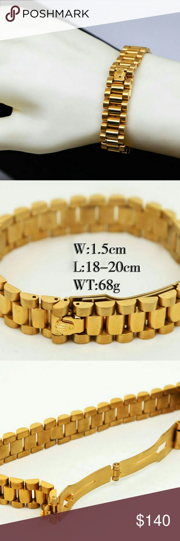 $50 Rolex bracelet 24K gold plated best quality fashion Rolex bracelets for women and men, very good quality. two sizes: 18-20CM, can be adjustable. for men and women.24k plated titanium steel, no fade. no tarnish. if interest comment email, will contact immediately, or contact clockdadida @ gmail, $50for one, $80 for two, wholesale more discount, welcome wholesale. free fast shipping US, use USPS, 5-7 days fast delivery Rolex Accessories Jewelry