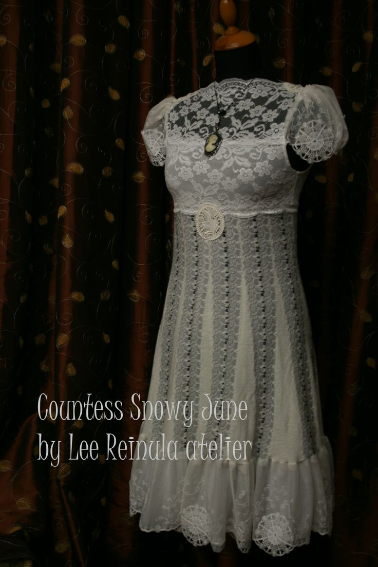 Knitted dress Countess Snowy June by Lee Reinula atelier 2014, merino and lace