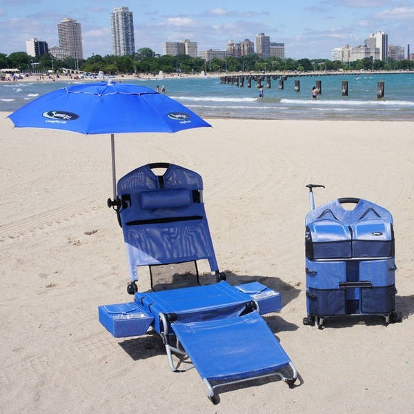 Beach Lounger Pack Chair with Speakers and Digital Amplifier, two coolers, holds wine bottles, holds wine bottles..already said that. I want!!