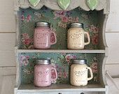 Mason jars salt and pepper shakers condiment sets hand painted home decor country farmhouse style