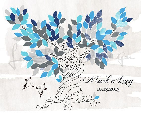 Custom Alternative wedding Guestbook  tree watercolor on canvas with sparrows 150 blue teal leaves.  It's possibie only in pdf