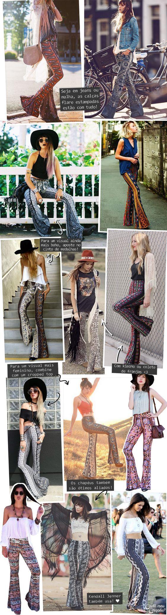 Calça flare estampada | Printed Flare Pants | Printed Bell Bottoms | http://cademeuchapeu.com