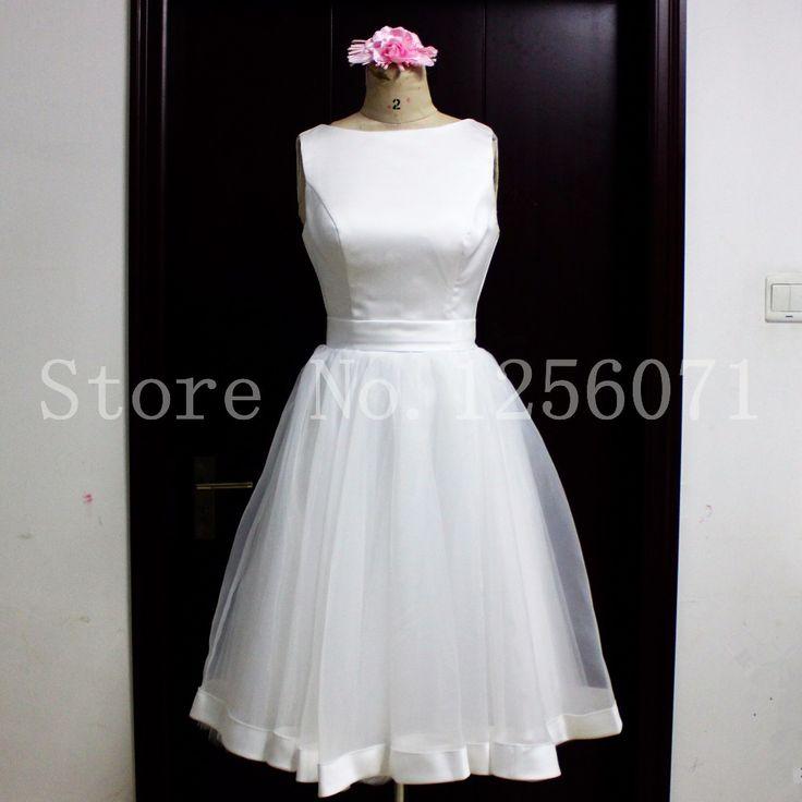 Robe De Mariage A Line Short Wedding Dress 2017 Summer Organza Backless Satin Wedding Bridal Gowns Knee Length