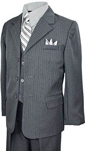 Boys Pinstripe Suit in Grey with Matching Tie Size 12 ** Check out the image by visiting the link.Note:It is affiliate link to Amazon.