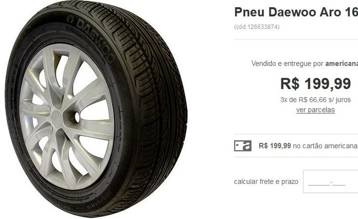 Pneu Daewoo Aro 16 205/55 R16 91V DW131 << R$ 19999 em 3 vezes >>