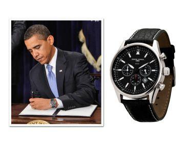 """Barack Obama - Jorg Gray JG6500 - Em 2007, o presidente recebeu de presente de aniversário do serviço secreto dos Estados Unidos o relógio da Jorg Gray, e desde então, não foi visto mais sem ele. A marca ficou tão feliz com a publicidade espontânea que isso causou que o presenteou em 2009 com um modelo personalizado, gravado no verso: """"The 44th President Of the United States, Barack H. Obama. January 20th 2009, Commemorative Edition"""""""