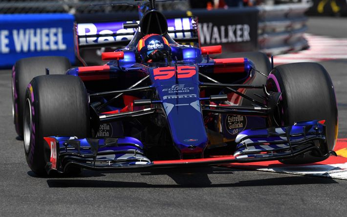 Download wallpapers 4k Carlos Sainz, racing drivers, Toro Rosso STR12, 2017 cars, Formula 1, F1, 55, Scuderia Toro Rosso