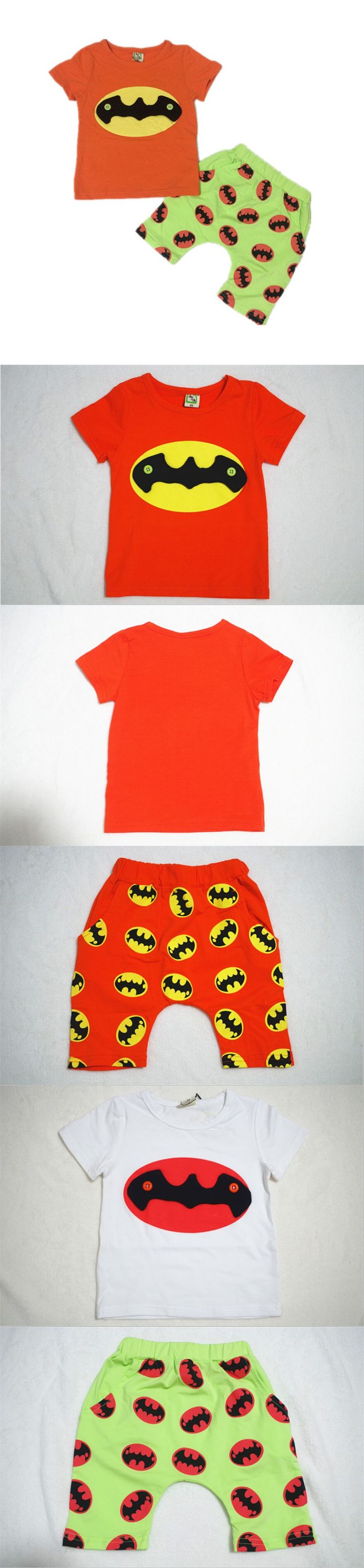 2 Colors 2015 New Batman Suit Cotton Children Clothing Set Baby Wear Summer Kids Clothes Boys Sets T-shirt + Short pants
