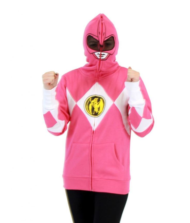 Now you can the ability to transform yourself into any of your favorite Mighty Morphin Power Rangers when you buy and wear one of these officially-licensed Power Rangers Costume Hoodie Sweatshirts.   Available: Red Power Ranger Hoodie, Yellow Power Ranger Hoodie, Pink Power Ranger Hoodie, Black Power Ranger Hoodie, Blue Power Ranger Hoodie, Green Power Ranger Hoodie, you and your friends can channel the power of the Zord this holiday.