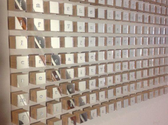 Modern word Geometric mirror wood cube wall art by HayatGul, $128.05