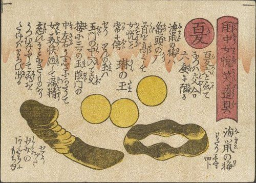 Attributed to: Keisai Eisen (渓斉英泉)Sex Toys for Women's Pleasure in the Bedroom (閨中女悦笑道具) Summer: Sea-cucumber Ring, Jewel Balls, Small Dildo (夏: 海鼠の輪, 琳の玉, せうがた )c. 1822 One of the consistent features of Japanese shunga is the concern to give pleasure during love-making and there were in fact special sellers of sex toys and sex medications in the later Edo period (1600-1868). Summer shows a ring of sea-cucumber (namako) worn on the penis to make the glans swell bigger, 'revolving jewels'…
