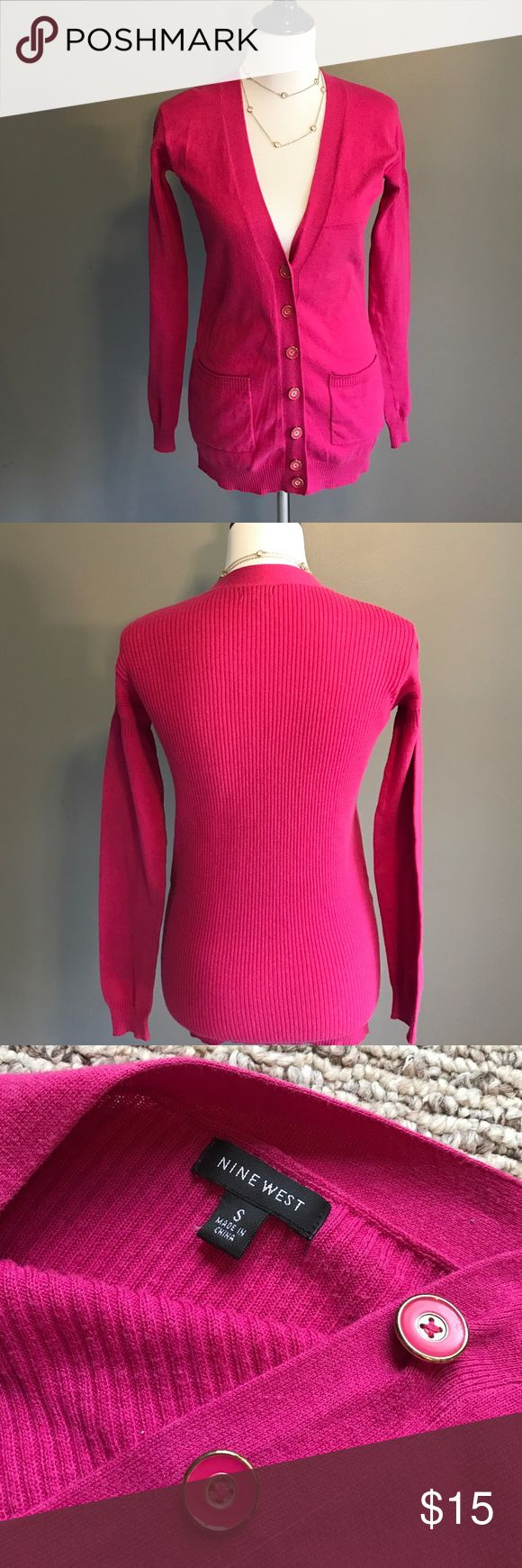 Nine West ladies S hot pink gold button cardigan Nine West Ladies small hot pink with gold accented buttons, robbed details. Extra long 27.5 in shoulder to hem. Flattering fit. Good condition but worn- slight pilling Nine West Sweaters Cardigans