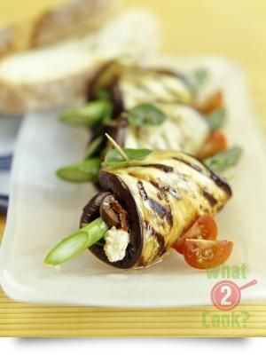 Eggplant Rolls stuffed with Rosemary, Asparagus and Feta