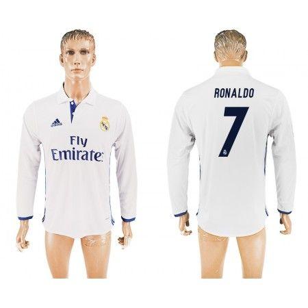 Real Madrid 16-17 Cristiano #Ronaldo 7 Hjemmebanetrøje Lange ærmer,245,14KR,shirtshopservice@gmail.com