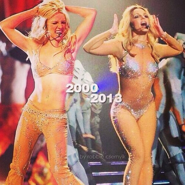 There's also this totally filtered photo some Stan made of her comparing her body from 2000 and 2013. | Britney Spears Is Not Fat So Shut Up And Sit Down